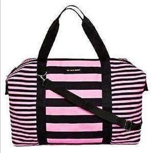 NWOT Victoria's Secret pink black stripe duffel